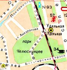 Последнее появление проходящего через весь Удельный парк Фермского шоссе на карте. 1983 год.